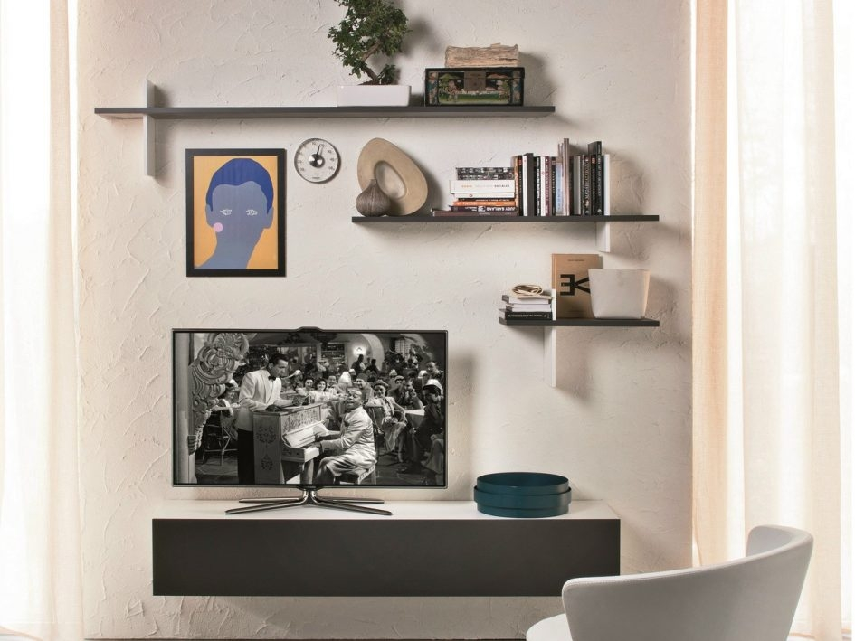Magnificent Popular Under TV Cabinets Within Furniture Wooden Wall Mounted Shelving Unit Over Mid Century (Image 36 of 50)