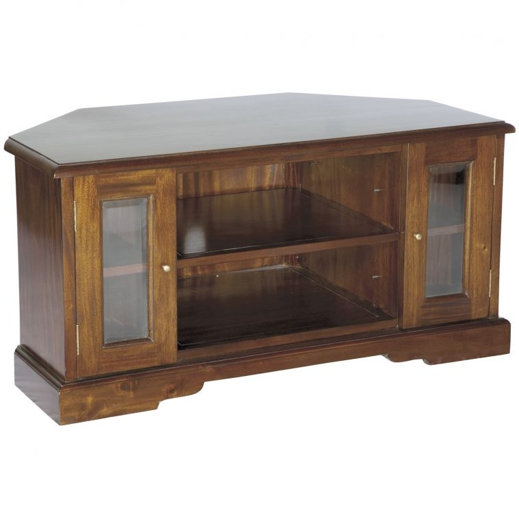 Magnificent Popular Wooden TV Cabinets With Glass Doors Regarding Furniture Brown Varnished Wooden Entertainment Center With Media (Image 40 of 50)