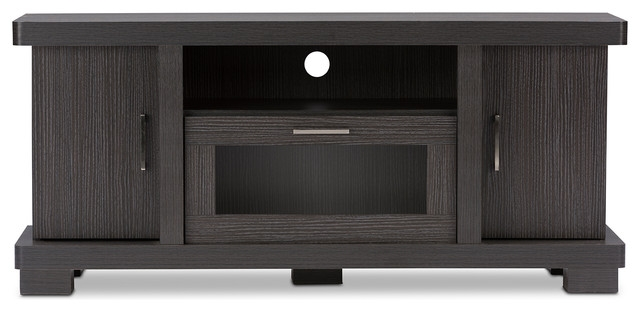 Magnificent Preferred Dark TV Stands Regarding Viveka 47 Inch Dark Brown Wood Tv Cabinet 2 Doors Contemporary (Image 40 of 50)