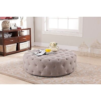 Magnificent Preferred Footstool Coffee Tables Regarding Tufted Beige Ottoman Round Accent Modern Wood Leg Fabric Footstool (Image 31 of 40)
