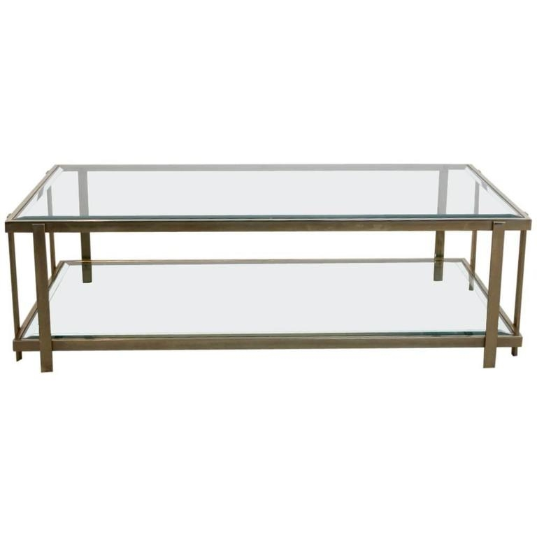 Magnificent Preferred Large Glass Coffee Tables With Large Graphical Glass Coffee Table On An Elegant Brass Frame (Image 35 of 50)