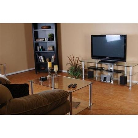 Magnificent Preferred Tv Stand Coffee Table Sets Pertaining To Buy Clear Glass And Aluminum Coffee Table And Tv Stand Set In (Image 41 of 50)