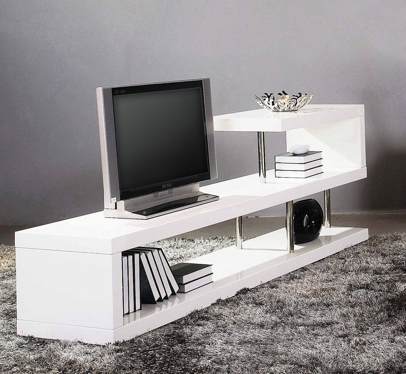 Magnificent Preferred White Contemporary TV Stands Pertaining To Modern White Lacquer Tv Stand (Image 37 of 50)