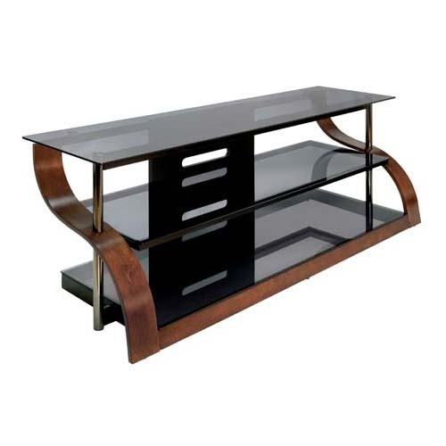 Magnificent Premium Black Glass TV Stands Inside Bello Curved Wood And Black Glass Tv Stand For 73 Inch Screens (Image 35 of 50)