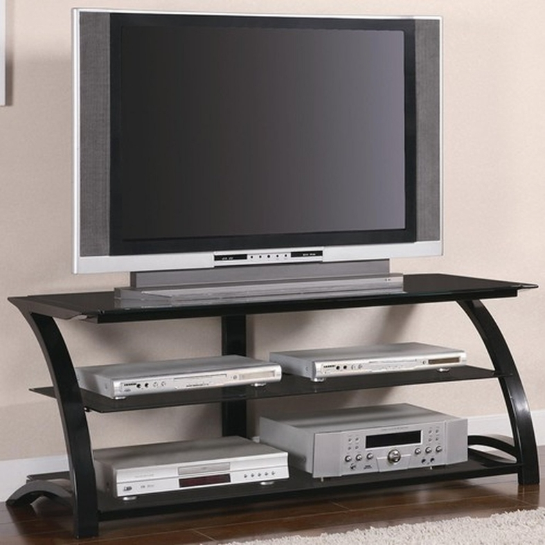 Magnificent Premium Black Glass TV Stands Within Coaster 700664 Black Glass Tv Stand Steal A Sofa Furniture (View 42 of 50)