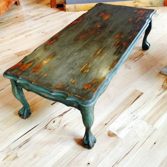 Magnificent Premium Boho Coffee Tables Intended For Vintage Painted Coffee Table Rustic Chippy Paint Distressed (View 29 of 50)