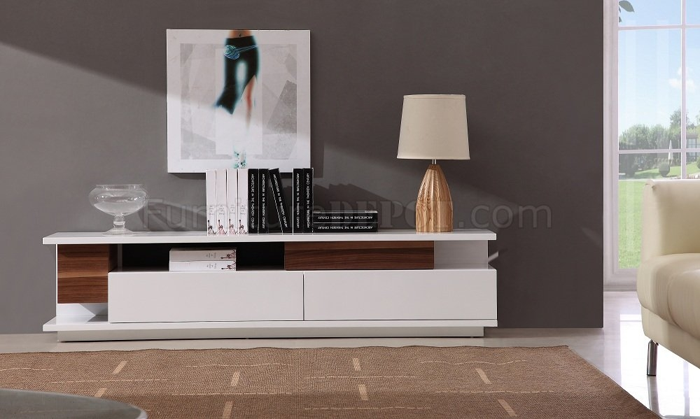Magnificent Premium Large White TV Stands Inside White Lacquer Finish Modern Tv Stand Wtwo Large Drawers (View 37 of 50)