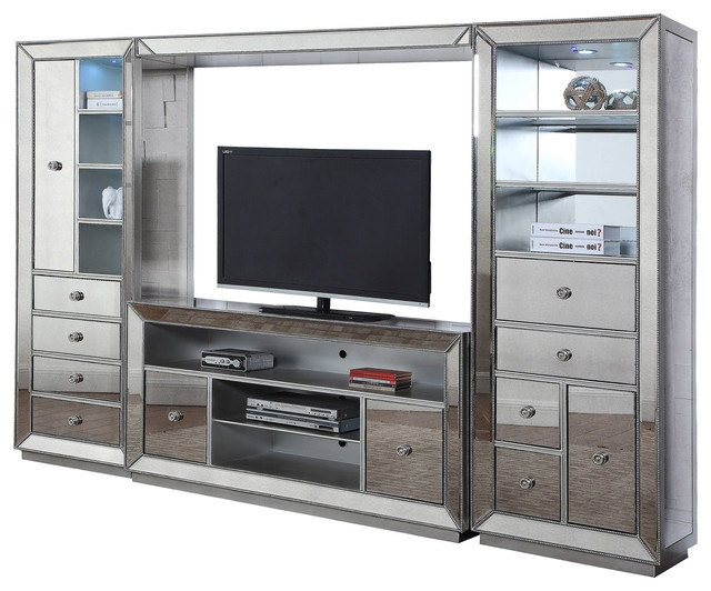 Magnificent Premium Silver TV Stands With Regard To T1803 Jameson 4 Piece Entertainment Center Silver Antique (View 24 of 50)