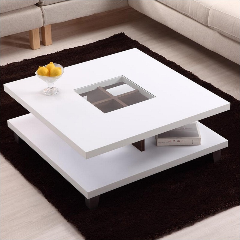 Magnificent Premium Square White Coffee Tables Regarding Beautiful Contemporary White Coffee Table (View 42 of 50)