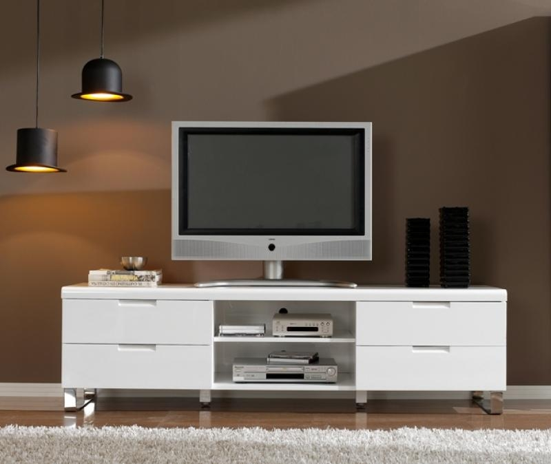 Magnificent Premium White Gloss TV Stands With Drawers Within High Tv Stands For Bedrooms (Image 35 of 50)