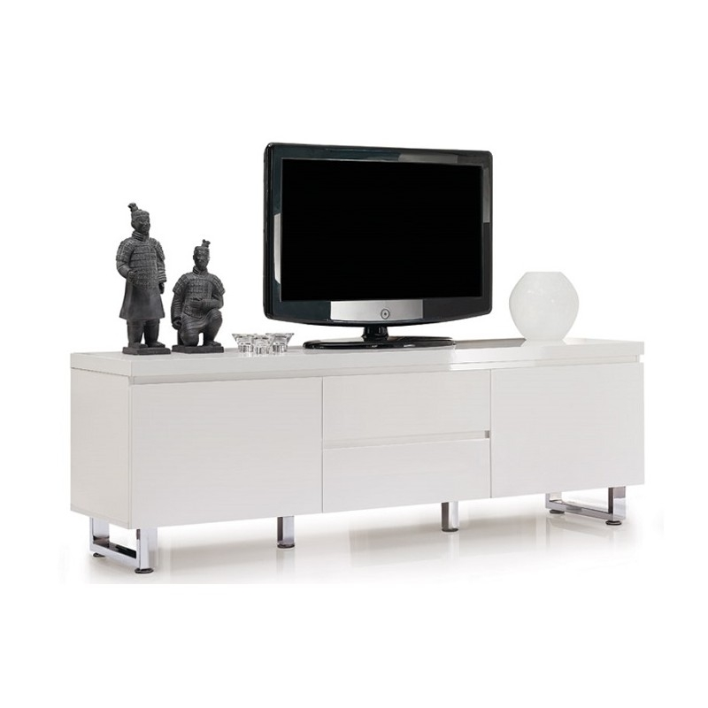 Magnificent Premium White Gloss TV Stands Within Song Black Gloss Tv Unit With Led Lights Tv Stands Sena Home (Image 37 of 50)