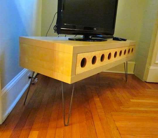 Magnificent Series Of Hairpin Leg TV Stands Pertaining To Before Amp After Ikea Lack Space Age Tv Stand Apartment Therapy (Image 33 of 50)