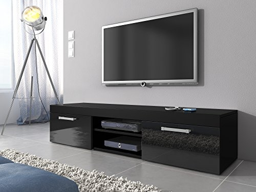 Magnificent Series Of High Gloss TV Cabinets With Tv Unit Cabinet Stand Mambo Black Matt Black High Gloss 140 Cm (View 23 of 50)