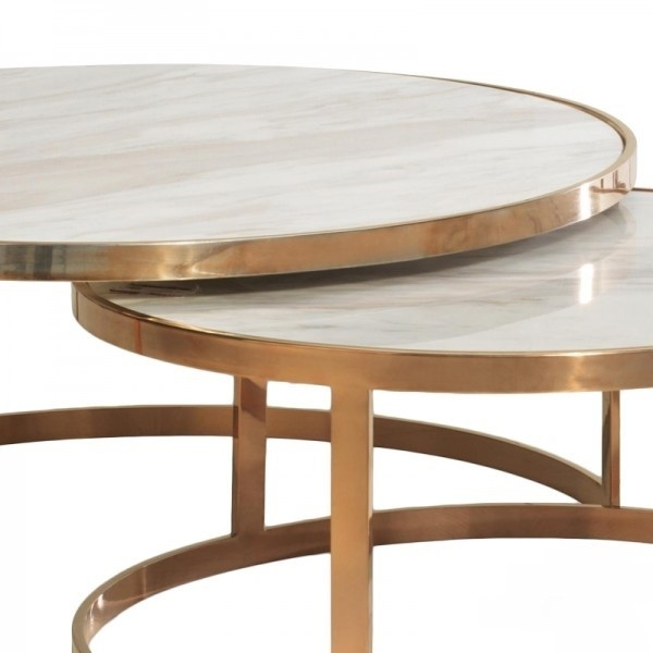 Magnificent Series Of Nest Coffee Tables Intended For Allure Marble Nest Coffee Table Coffee Side Tables Sokol (Image 32 of 50)