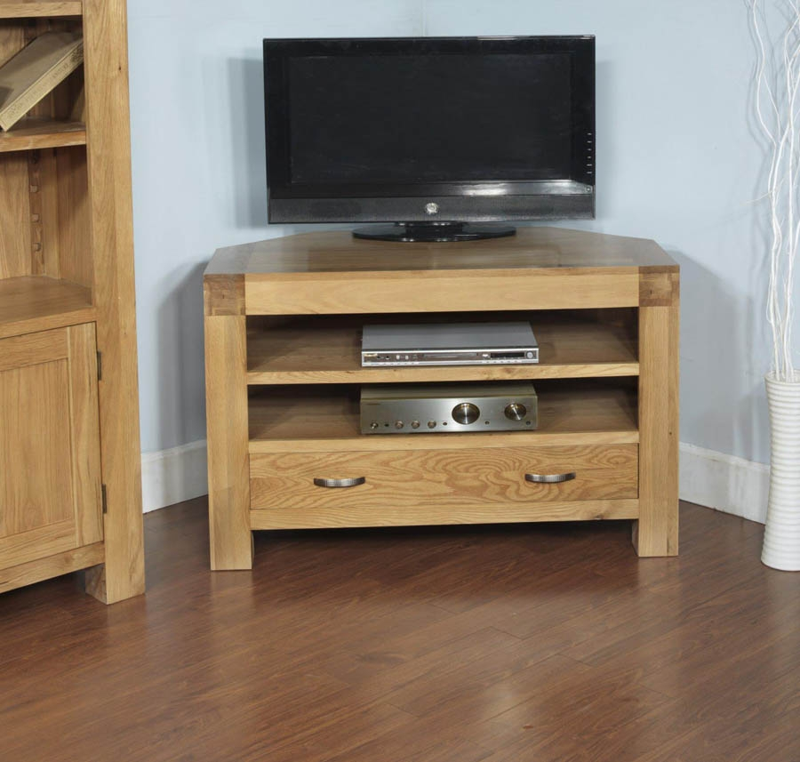 Magnificent Series Of Solid Oak Corner TV Cabinets Inside Santana Blonde Oak Corner Tv Cabinet (Image 34 of 50)