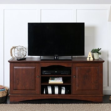 Magnificent Series Of Wooden TV Stands With Doors With Regard To Amazon Walker Edison 60 Wood Storage Tv Stand Console Brown (Photo 44 of 50)