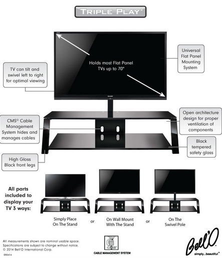 Magnificent Top Bell'O Triple Play TV Stands Throughout 8 (View 37 of 50)