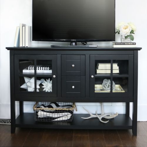 Magnificent Top Black TV Stands With Glass Doors Within Black Console Table Wood Dining Buffet Sideboard 52 Inch Tv Stand (Image 28 of 50)