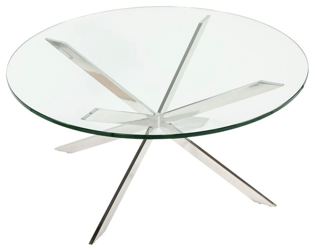 Magnificent Top Clock Coffee Tables Round Shaped Pertaining To Sputnik Cocktail Table Round Shaped Top Glass Silver (Image 36 of 50)