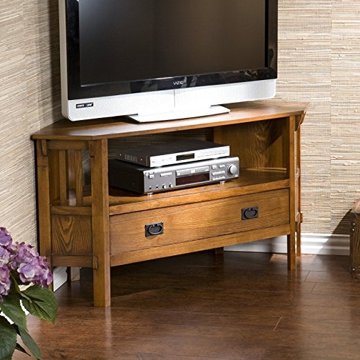 Magnificent Top Dark Oak Corner TV Cabinets Throughout Amazon Carson Oak Corner Media Stand Kitchen Dining (Image 36 of 50)