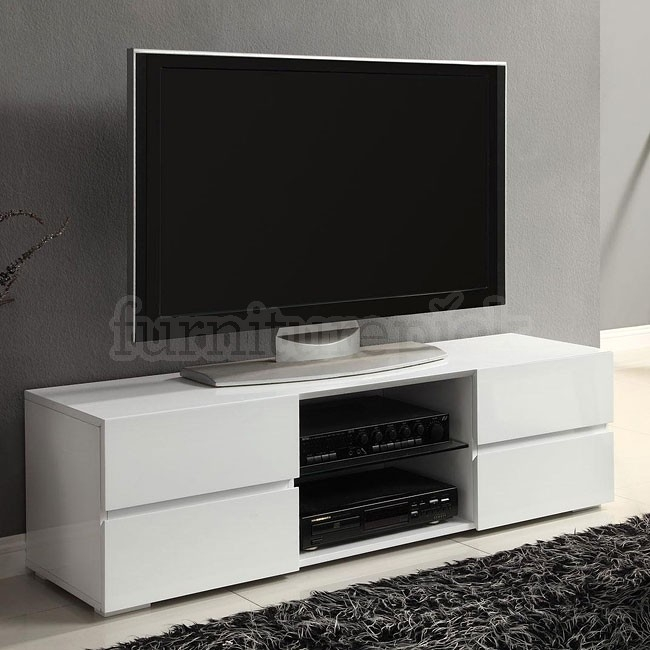 Magnificent Top High Gloss White TV Stands With Regard To High Gloss White Tv Stand W Storage Drawers Coaster Furniture (Image 33 of 50)