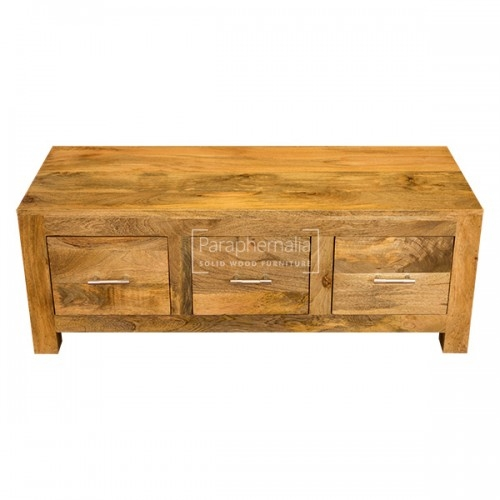 Magnificent Top Mango Wood Coffee Tables With Regard To Ambala Cube Light Mango Wood Coffee Table Three Drawer Solid (Image 35 of 50)
