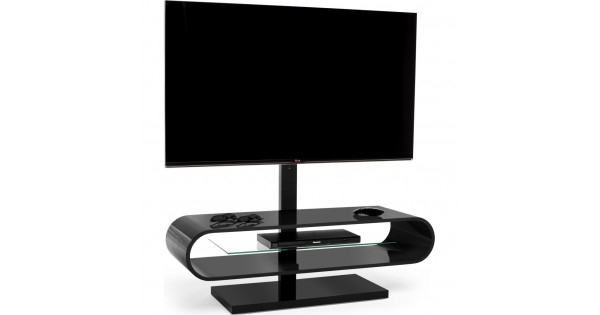 Magnificent Top Ovid TV Stands Black For Suitable For Displays Up To 60 Inches A Central Glass Shelf Is (Image 40 of 50)