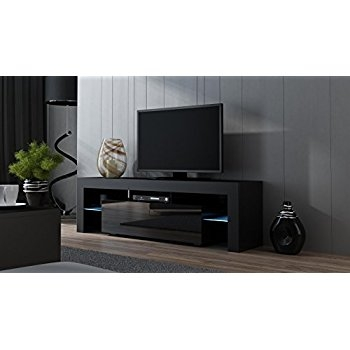 Magnificent Trendy Black TV Cabinets With Regard To Amazon Tv Stand Milano 160 Black Tv Cabinet With Leds (Image 40 of 50)