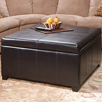 Magnificent Trendy Brown Leather Ottoman Coffee Tables Intended For Amazon Avalon Espresso Brown Leather Ottoman Coffee Table (View 43 of 50)