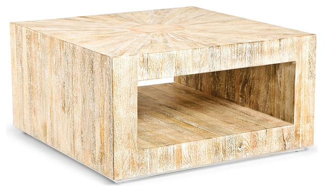 Magnificent Trendy Chunky Wood Coffee Tables Inside Kismet Coastal Beach Square Chunky Mango Driftwood Coffee Table (Image 34 of 50)