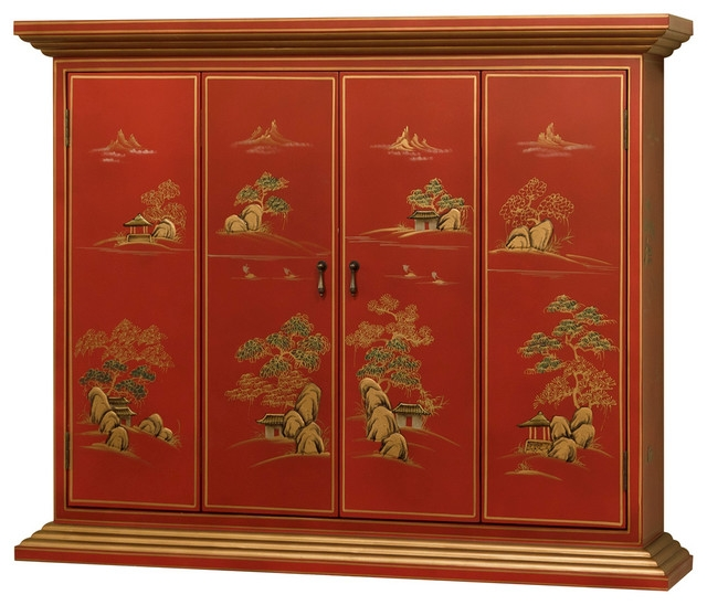 Magnificent Trendy Red TV Cabinets Regarding Chinoiserie Wall Tv Cabinet Asian Entertainment Centers And Tv (Image 37 of 50)