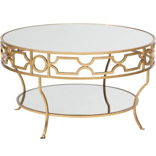 Magnificent Trendy Round Mirrored Coffee Tables Inside Gold Detail Trim Mirrored Top Coffee Table (Image 31 of 40)