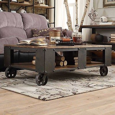 Magnificent Trendy Rustic Style Coffee Tables With Regard To Industrial Style Coffee Table Urban Rustic Metal Wood Living Room (View 36 of 50)