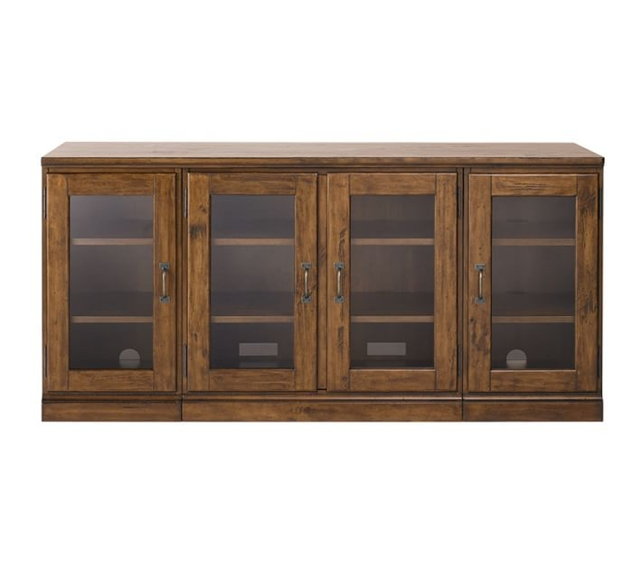 Magnificent Trendy TV Stands And Cabinets With Regard To Printers Glass Cabinet Media Stand Tuscan Chestnut Pottery Barn (View 47 of 50)