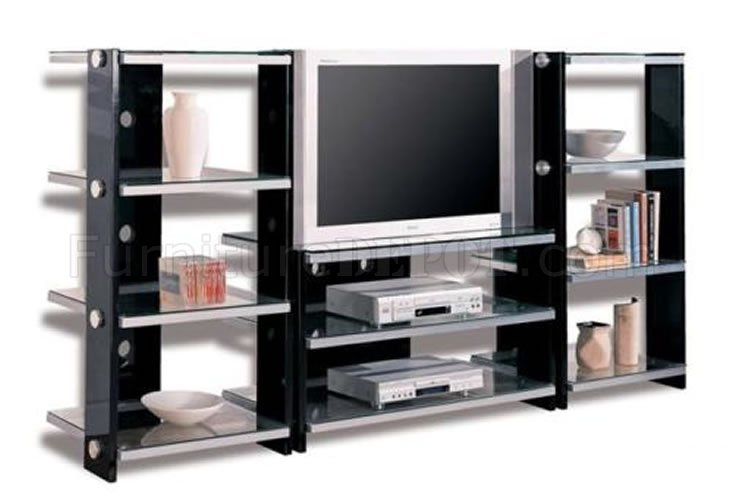 Magnificent Unique Contemporary Black TV Stands With Black Contemporary Tv Stand Wmetal Frame Glass Shelves (View 37 of 50)