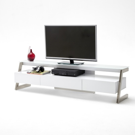 Magnificent Unique Modern Glass TV Stands Intended For Albans Glass Lcd Tv Stand In White With High Gloss And 3 (Photo 38 of 50)