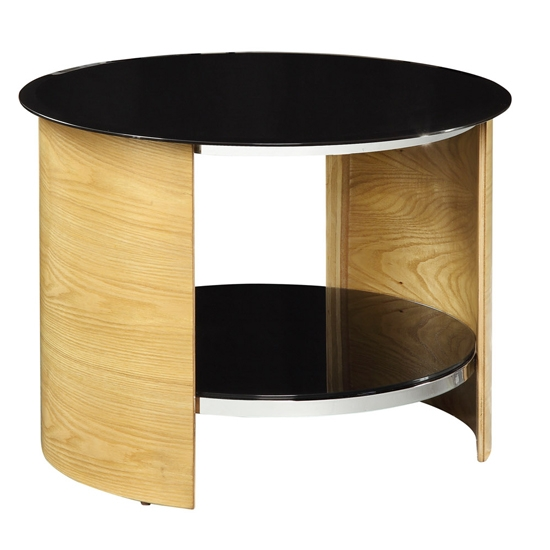 Magnificent Unique Round TV Stands With Bent Wood Round Oak Lamp Table With Black Glass Top  (Image 40 of 50)