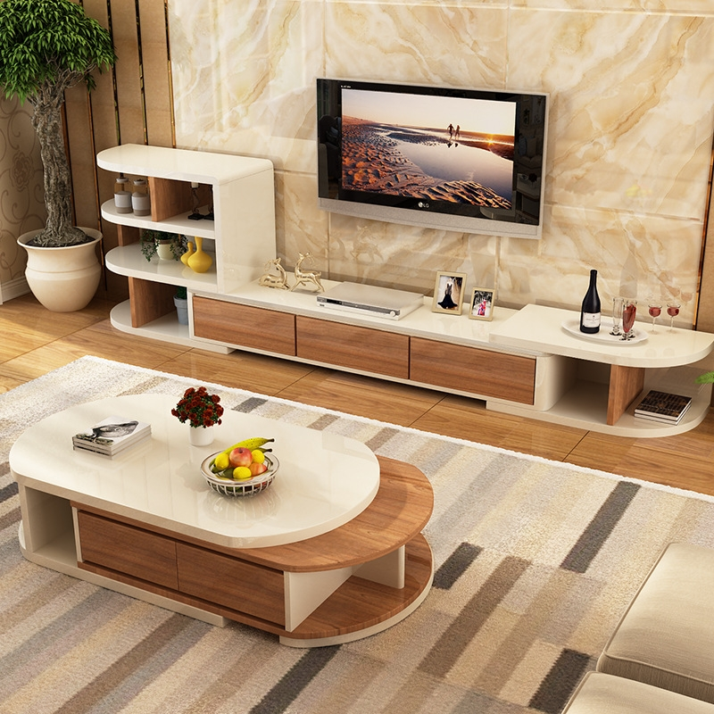 Magnificent Unique Tv Cabinet And Coffee Table Sets Throughout Coffee Table Tv Cabinet Combination Suit Modern Small Apartment (Image 32 of 40)