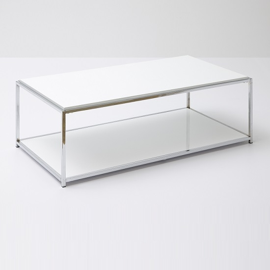 Magnificent Unique White And Chrome Coffee Tables Throughout Isabel Coffee Table Rectangular In White Gloss With Chrome (View 16 of 50)