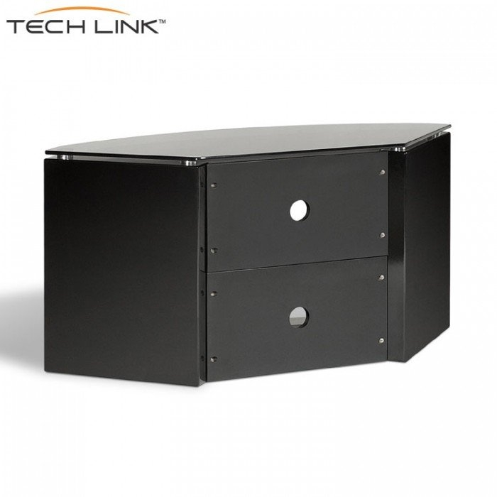 Magnificent Variety Of Black Corner TV Cabinets Throughout Techlink B6b Bench Piano Gloss Black With Smoked Glass Corner Tv (View 26 of 50)