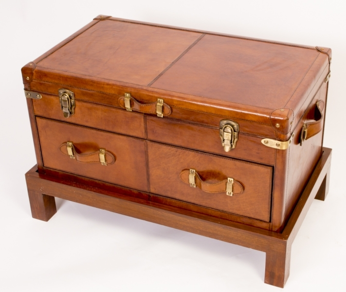 Magnificent Variety Of Campaign Coffee Tables Pertaining To English Leather Campaign Trunk Coffee Table Luggage (Image 35 of 50)