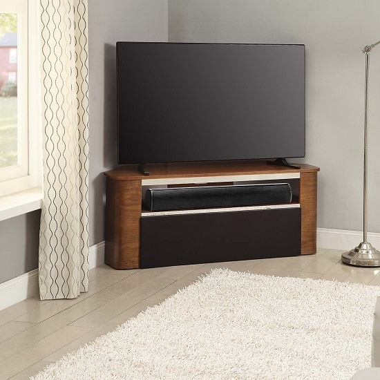 Magnificent Variety Of Cornet TV Stands Inside Marin Wooden Corner Acoustic Tv Stand In Walnut  (Image 36 of 50)