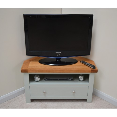 Magnificent Variety Of Green TV Stands Inside Camborne Sea Green Oak Corner Tv Stand Entertainment Unit (Image 36 of 50)