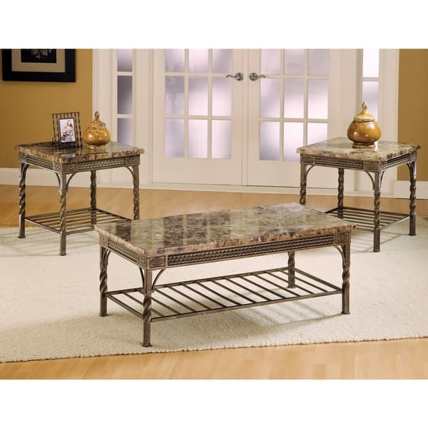 Magnificent Variety Of Madison Coffee Tables Inside Madison Marble Coffee Table Set Of 3 Free Shipping Today (View 25 of 40)