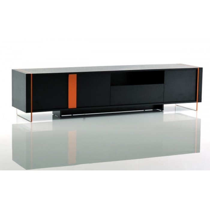 Magnificent Variety Of Modern Black TV Stands Intended For Modrest Vision Modern Black Oak Floating Tv Stand (Image 36 of 50)