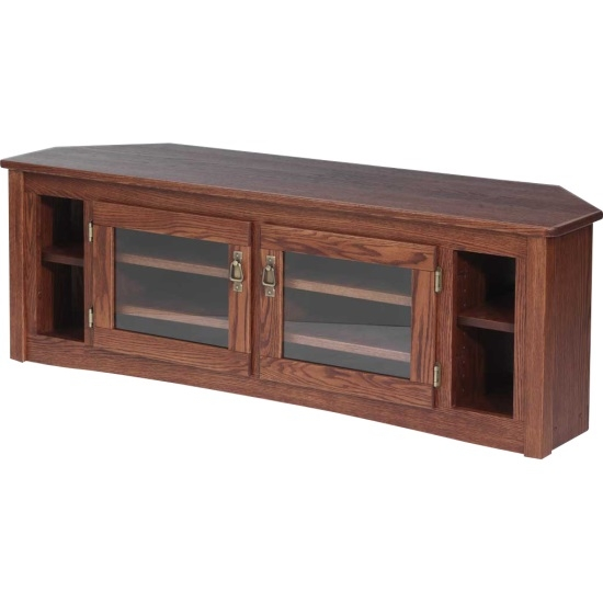 Magnificent Variety Of Solid Oak Corner TV Cabinets Pertaining To Solid Oak Mission Style Corner Tv Stand 60 The Oak Furniture Shop (Image 35 of 50)