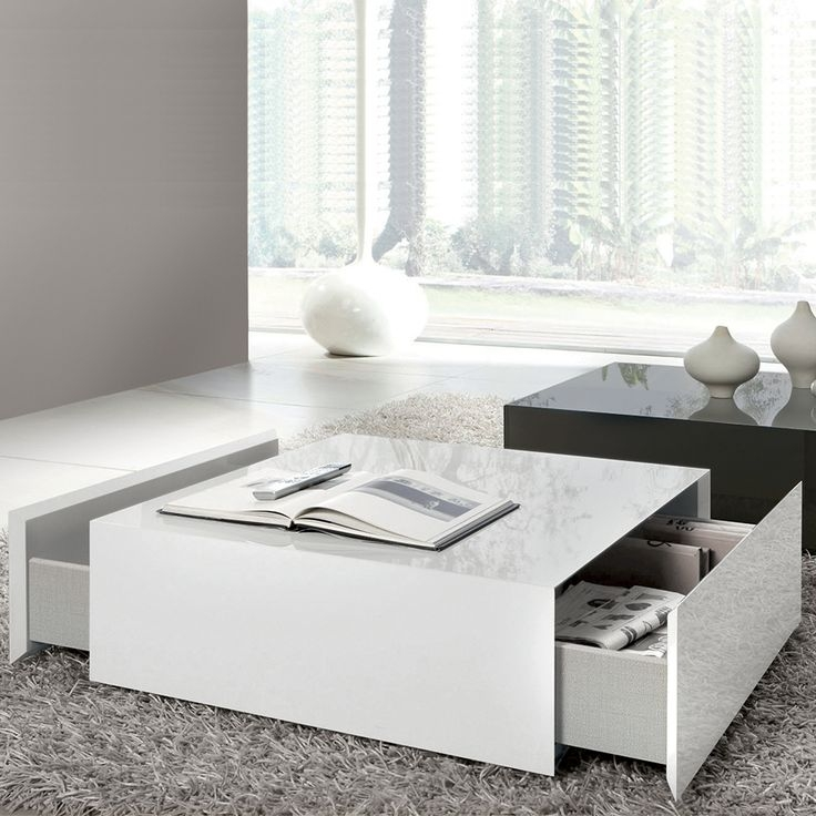 Magnificent Variety Of Square Coffee Tables With Drawers Intended For Coffee Table Impactful Modern White Coffee Table White Coffee (View 36 of 40)
