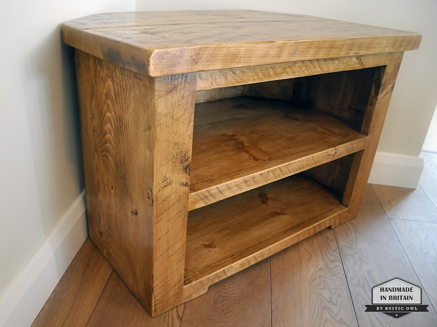 Magnificent Variety Of TV Stands 100cm Wide Intended For Chunky Corner Tv Stand Rustic Owl (View 14 of 50)
