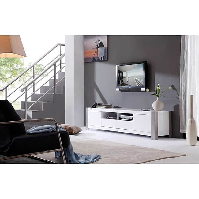 Magnificent Variety Of White Gloss TV Stands With Drawers With Maya White High Gloss Stainless Steel Tv Stand Free Shipping (Image 38 of 50)