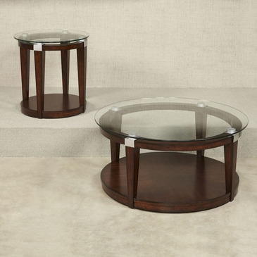 Magnificent Well Known 2 Piece Coffee Table Sets Regarding Hammary Solitaire 2 Piece Round Coffee Table Set In Rich Dark (View 4 of 50)